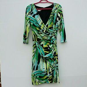 Kay Unger faux wrap leaf print dress Sz 6
